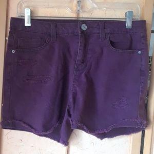 No Boundaries burgundy jean shorts